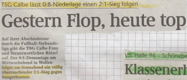 Volksstimme-Schlagzeile vom 28. Spieltag.