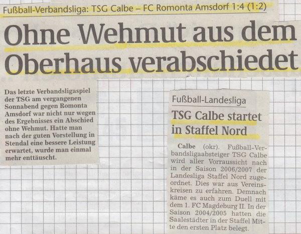 Volksstimme-Schlagzeile zum 30. Spieltag.