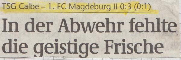 Volksstimme-Schlagzeile zum 1. Spieltag.