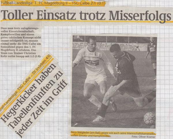 Volksstimme-Schlagzeile zum 14. und 15. Spieltag.