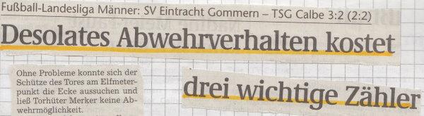 Volksstimme-Schlagzeile zum 17. Spieltag.