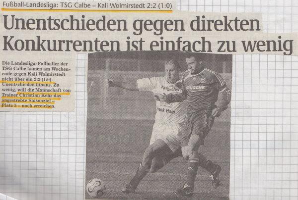 Volksstimme-Schlagzeile zum 18. Spieltag.