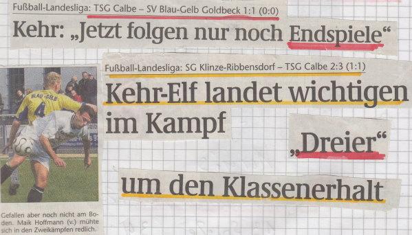 Volksstimme-Schlagzeile zum 20. Spieltag.