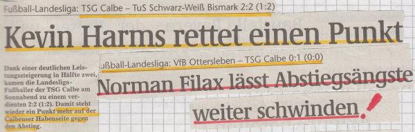 Volksstimme-Schlagzeile zum 23. und 24. Spieltag.
