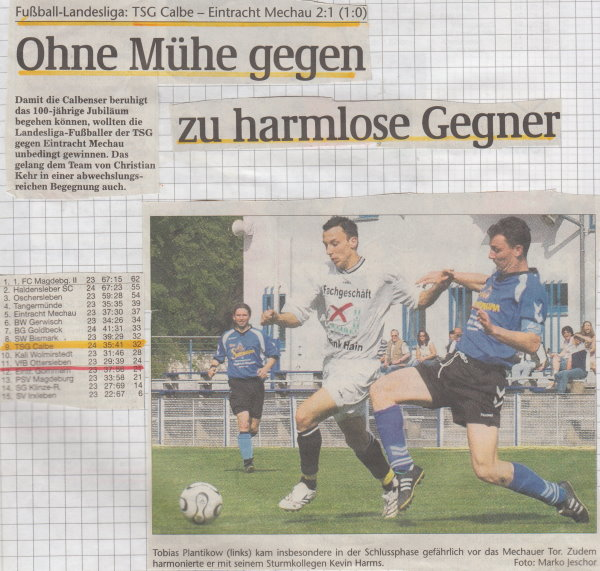 Volksstimme-Schlagzeile zum 24. Spieltag.