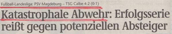 Volksstimme-Schlagzeile zum 27. Spieltag.