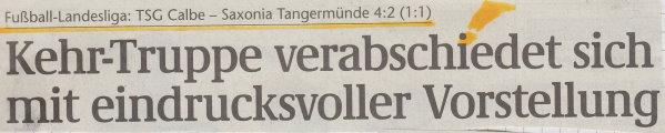Volksstimme-Schlagzeile zum 28. Spieltag.