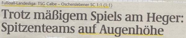Volksstimme-Schlagzeile zum 5. Spieltag.