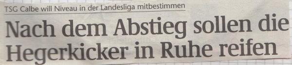 Volksstimme-Schlagzeile zum Saisonstart.