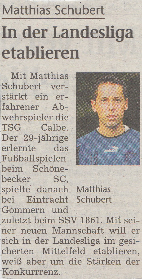 TSG-Neuzugang Mathias Schubert.