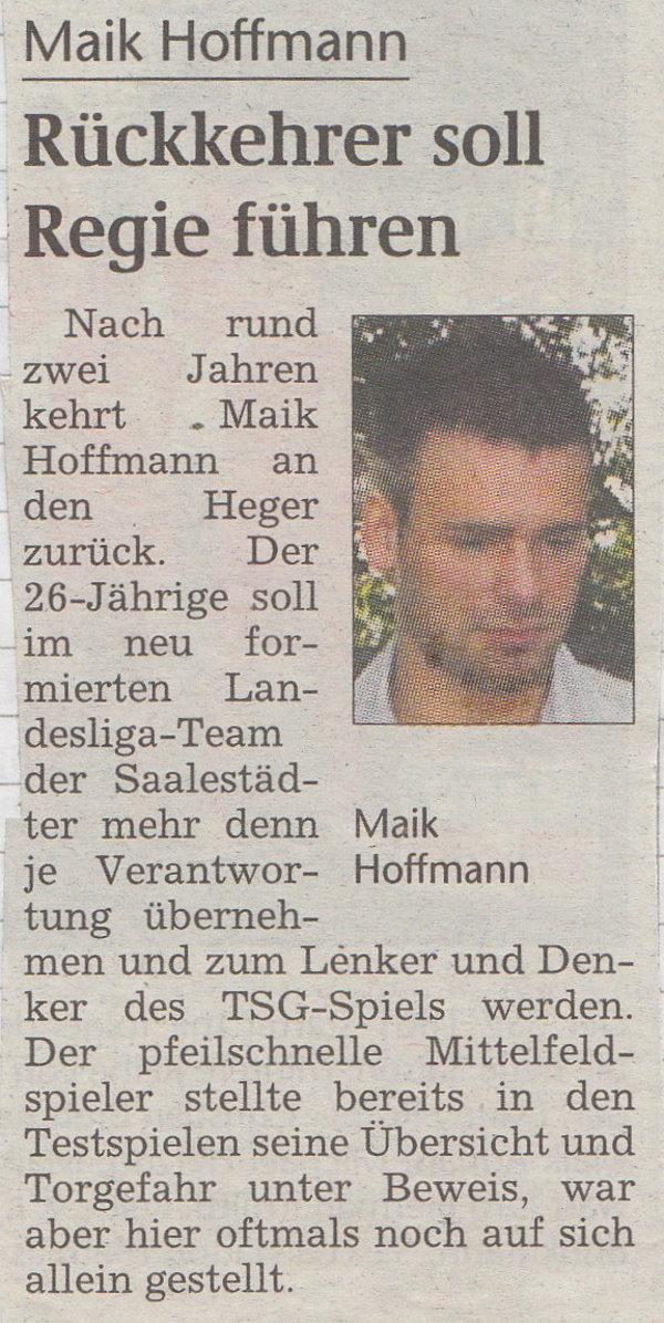 TSG-Rückkehrer Maik Hoffmann.