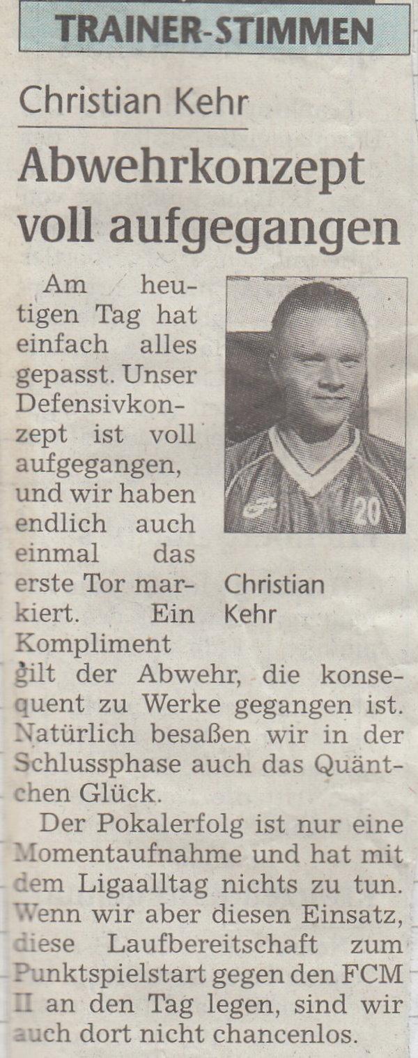 Trainer-Stimmen zur ersten Runde im Landespokal gegen den SSV.
