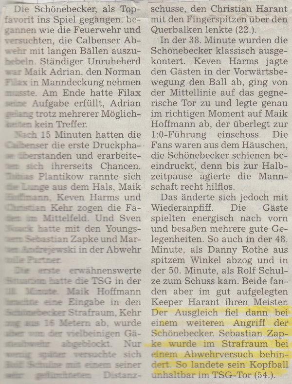 Volksstimme-Bericht zur ersten Runde im Landespokal gegen den SSV (Teil 1).