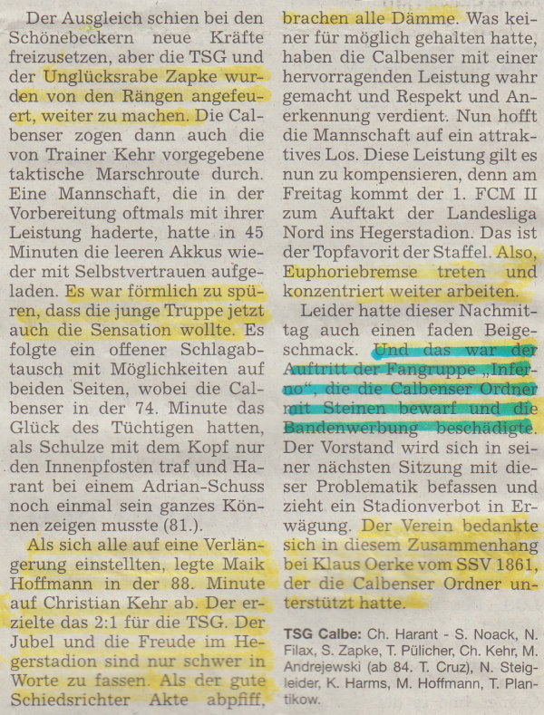 Volksstimme-Bericht zur ersten Runde im Landespokal gegen den SSV (Teil 2).