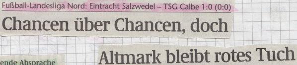 Volksstimme-Schlagzeile zum 10. Spieltag.