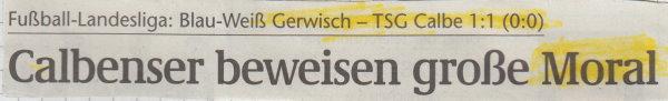 Volksstimme-Schlagzeile zum 12. Spieltag.