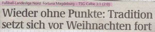 Volksstimme-Schlagzeile zum 13. Spieltag.