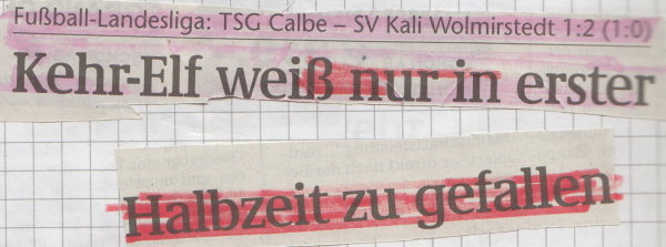 Volksstimme-Schlagzeile zum 14. Spieltag.