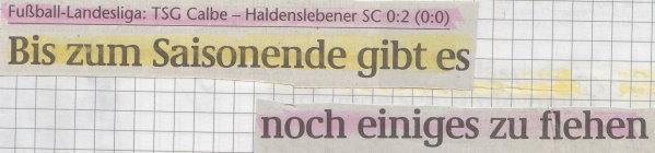 Volksstimme-Schlagzeile zum 16. Spieltag.