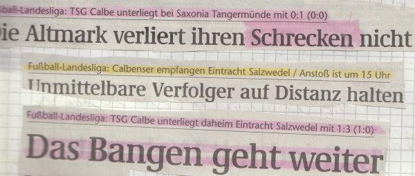 Volksstimme-Schlagzeile zum 21. Spieltag.