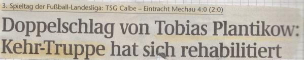 Volksstimme-Schlagzeile zum 3. Spieltag.
