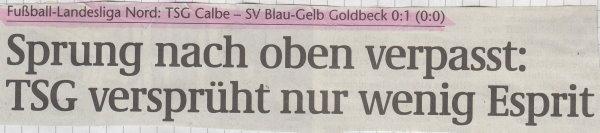 Volksstimme-Schlagzeile zum 6. Spieltag.