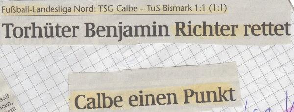 Volksstimme-Schlagzeile zum 7. Spieltag.