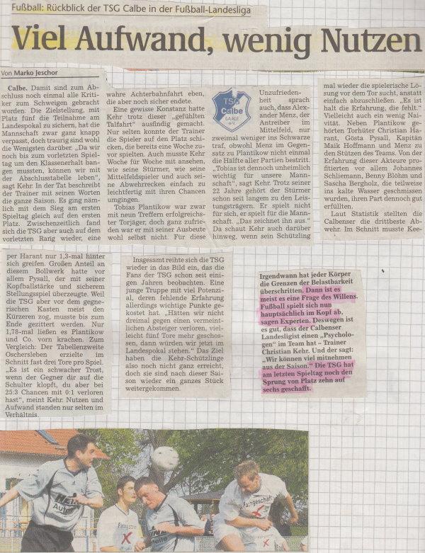 Volksstimme-Bericht zur Saison 2007/2008 in der Landesliga.