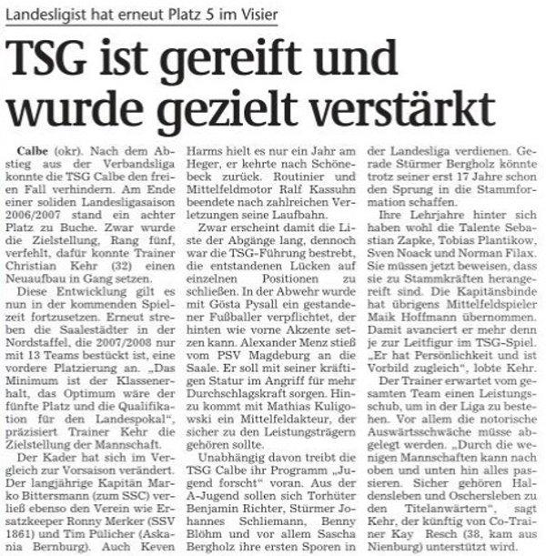 Artikel im Volksstimme-Anstoß-Heft zur Saison 2007/08 für den Altkreis Schönebeck