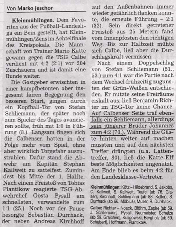 Volksstimme-Artikel vom 01. November 2007.