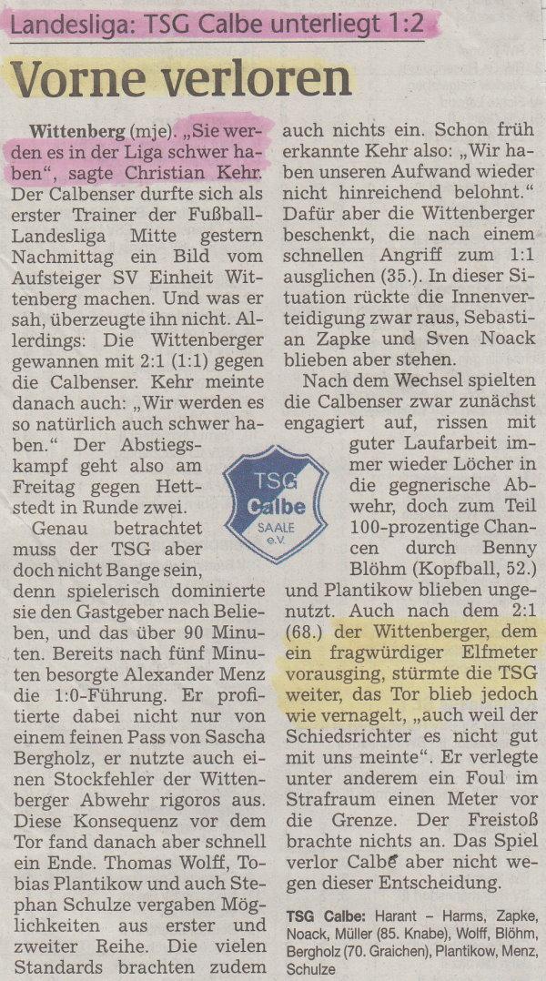 Volksstimme-Bericht zum 1. Spieltag.