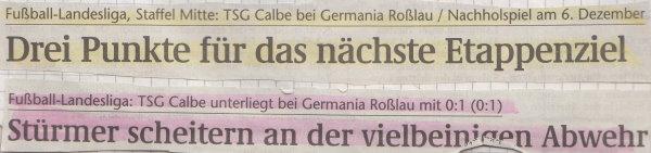 Volksstimme-Schlagzeile zum 11. Spieltag.