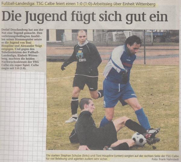Volksstimme-Bericht zum 13. Spieltag.