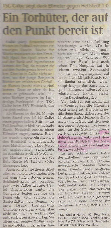 Volksstimme-Bericht zum 14. Spieltag.