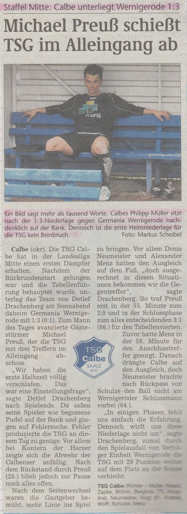 Volksstimme-Bericht zum 15. Spieltag.