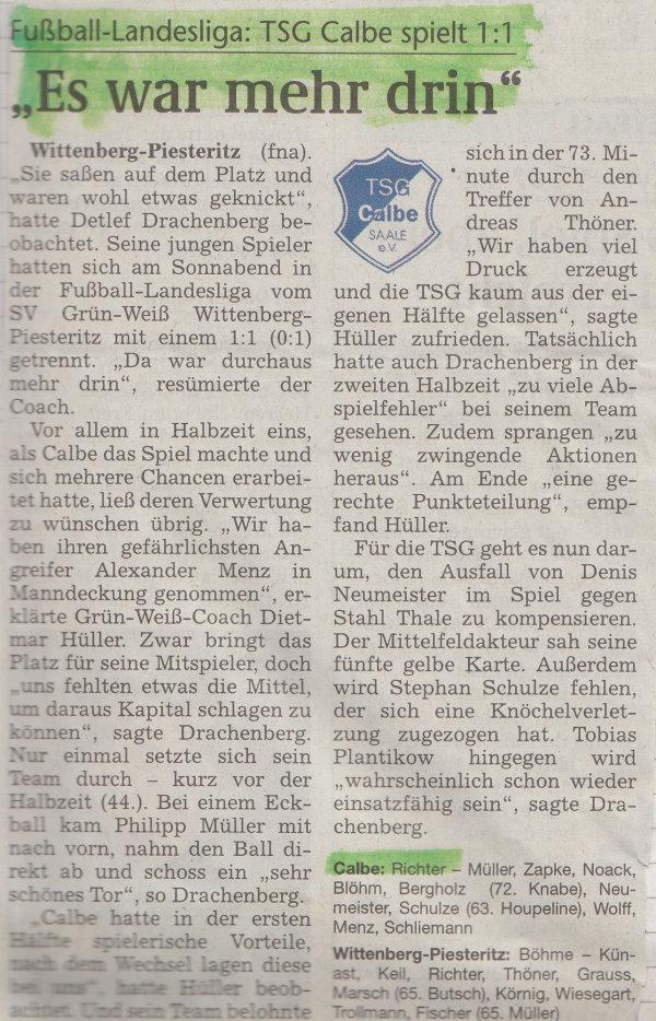 Volksstimme-Bericht zum 16. Spieltag.