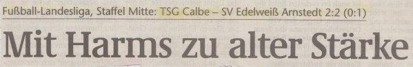 Volksstimme-Schlagzeile zum 19. Spieltag.