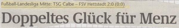 Volksstimme-Schlagzeile zum 2. Spieltag.