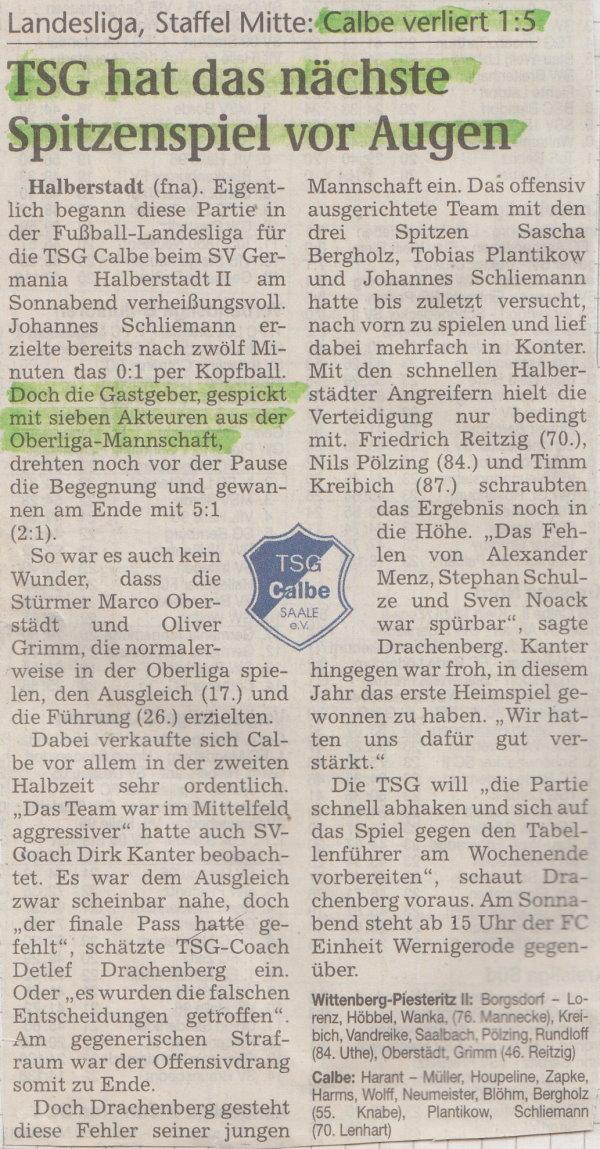 Volksstimme-Bericht zum 20. Spieltag.