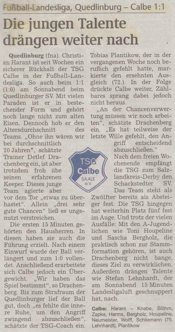 Volksstimme-Bericht zum 22. Spieltag.
