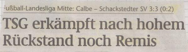 Volksstimme-Schlagzeile zum 23. Spieltag.