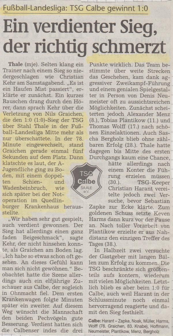 Volksstimme-Bericht zum 5. Spieltag.