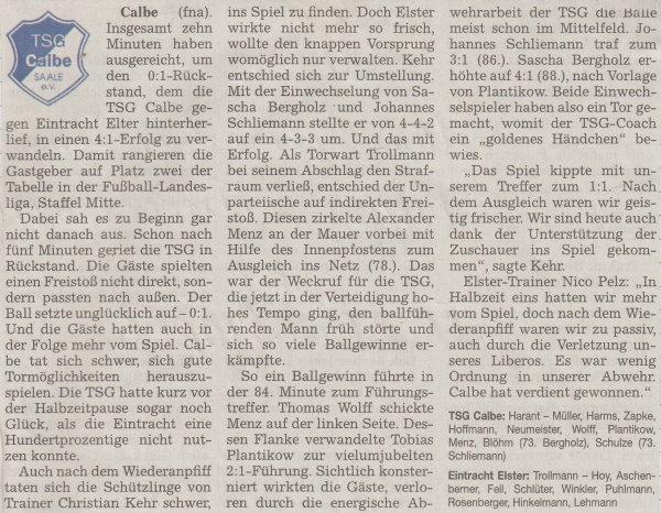 Volksstimme-Berich zum 6. Spieltag.