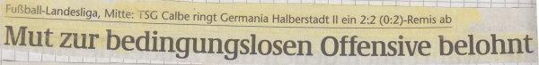 Volksstimme-Schlagzeile zum 8. Spieltag.