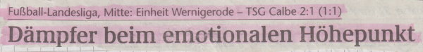 Volksstimme-Schlagzeile zum 9. Spieltag.