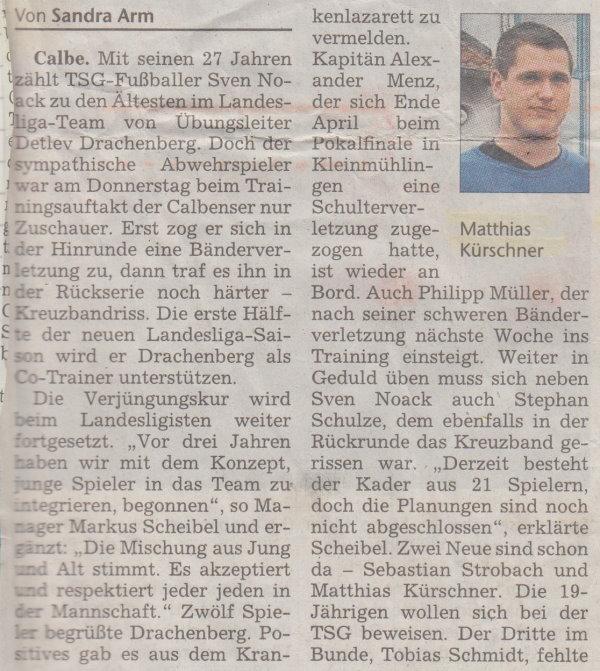 Volksstimme-Artikel zum Saisonstart (Teil 1).