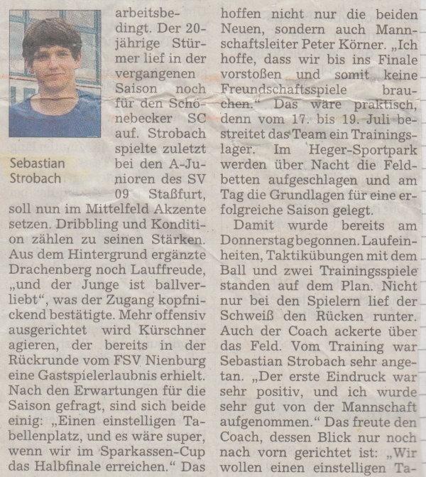 Volksstimme-Artikel zum Saisonstart (Teil 2).