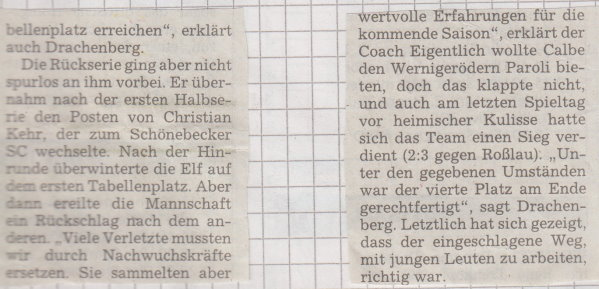 Volksstimme-Artikel zum Saisonstart (Teil 3).