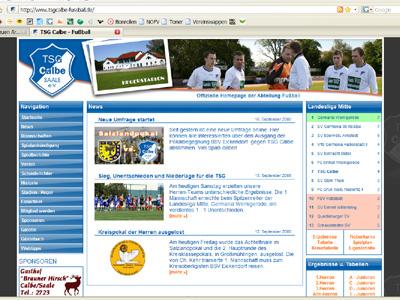 Der neue Web-Auftritt der TSG - Fußballer